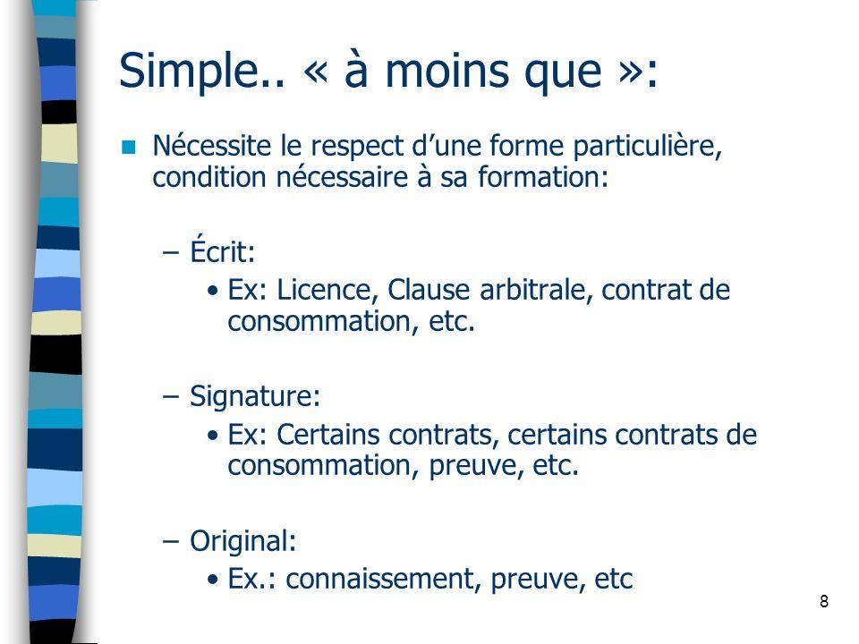 Simple.. « à moins que »: Nécessite le respect d'une forme particulière, condition nécessaire à sa formation: