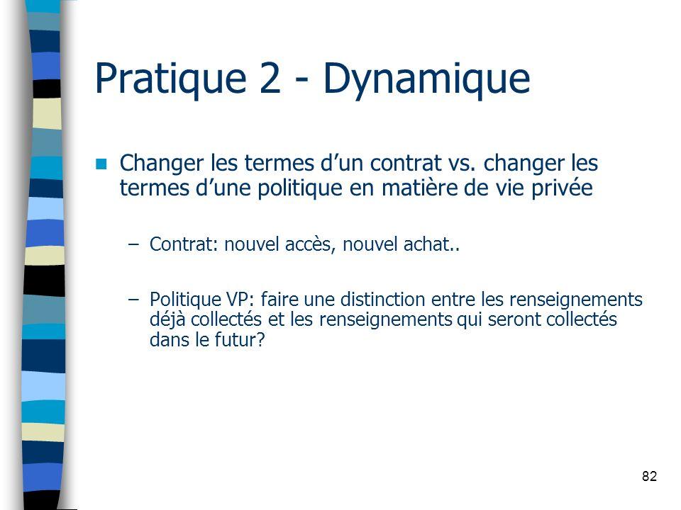 Pratique 2 - Dynamique Changer les termes d'un contrat vs. changer les termes d'une politique en matière de vie privée.