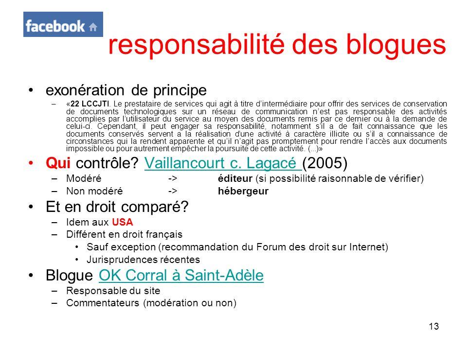 responsabilité des blogues