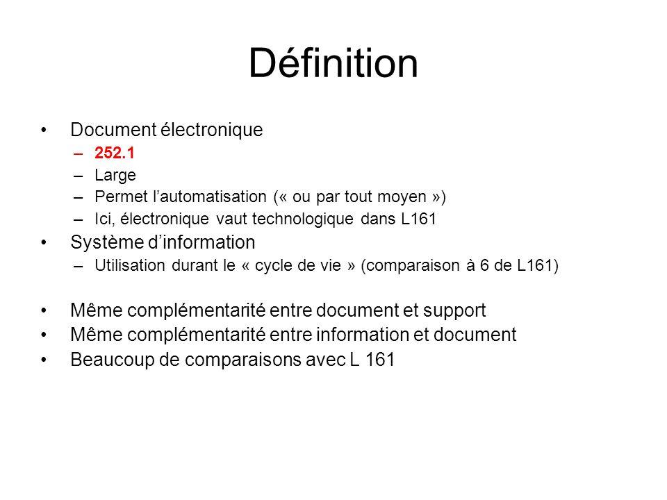 Définition Document électronique Système d'information