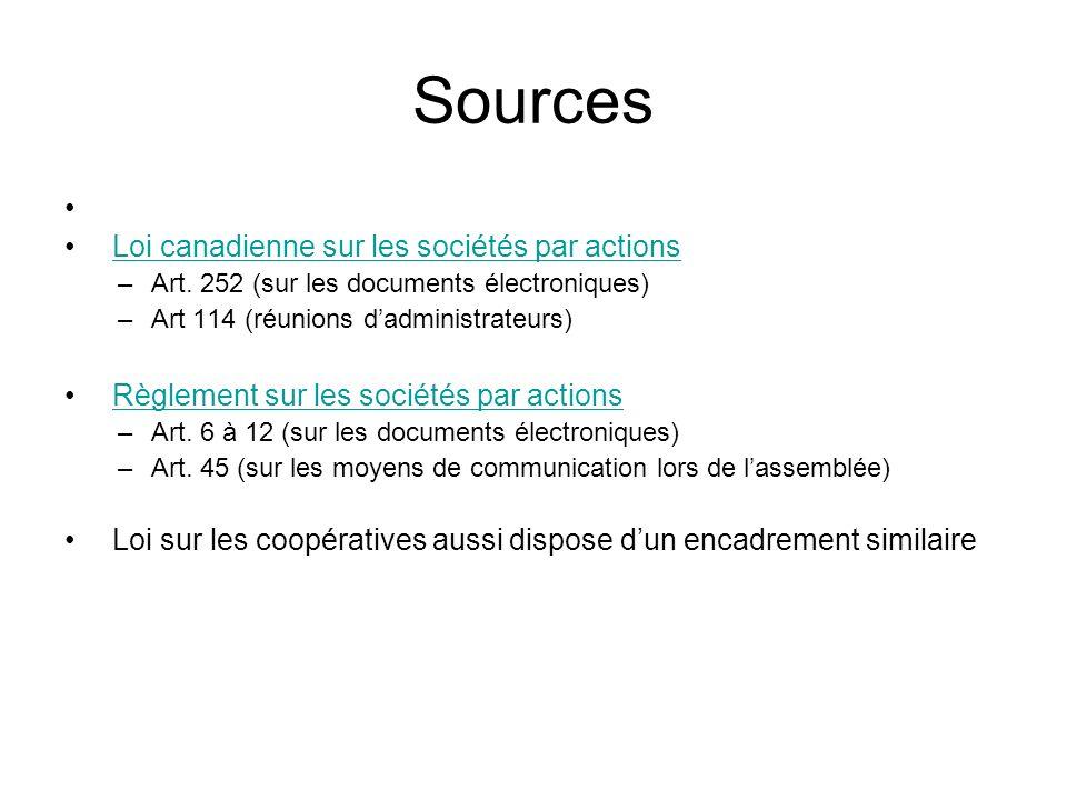 Sources Loi canadienne sur les sociétés par actions