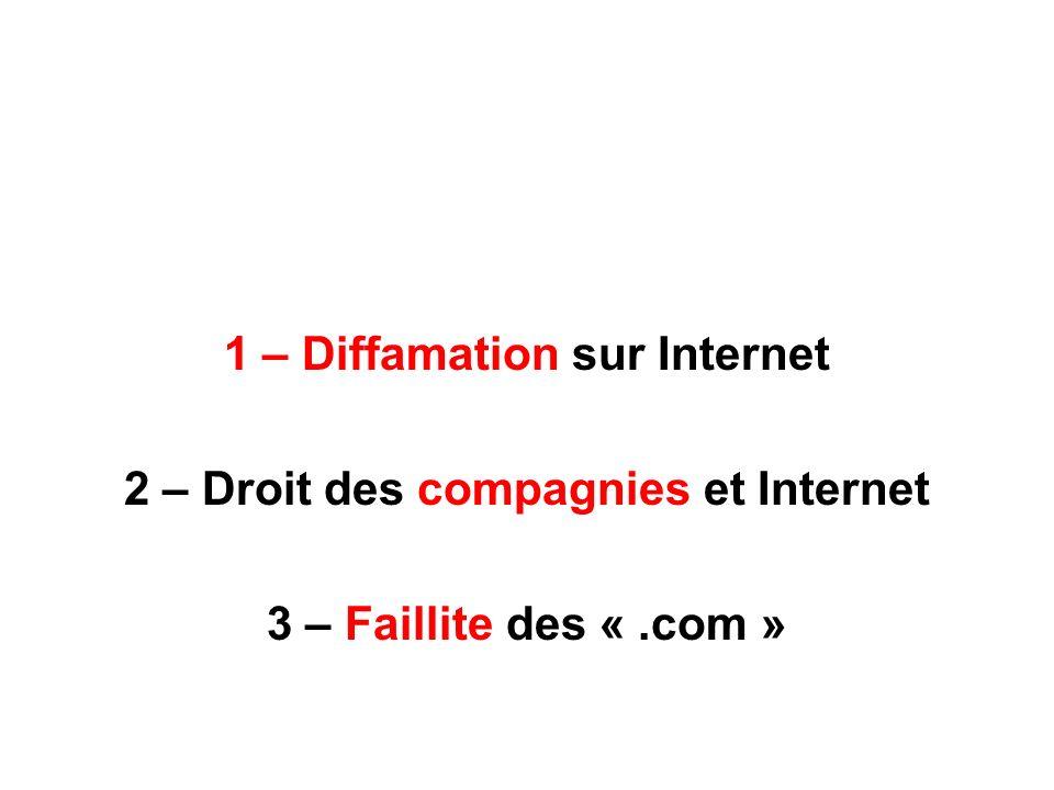 1 – Diffamation sur Internet 2 – Droit des compagnies et Internet