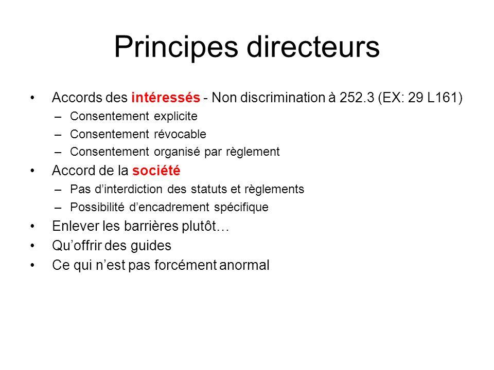Principes directeurs Accords des intéressés - Non discrimination à 252.3 (EX: 29 L161) Consentement explicite.