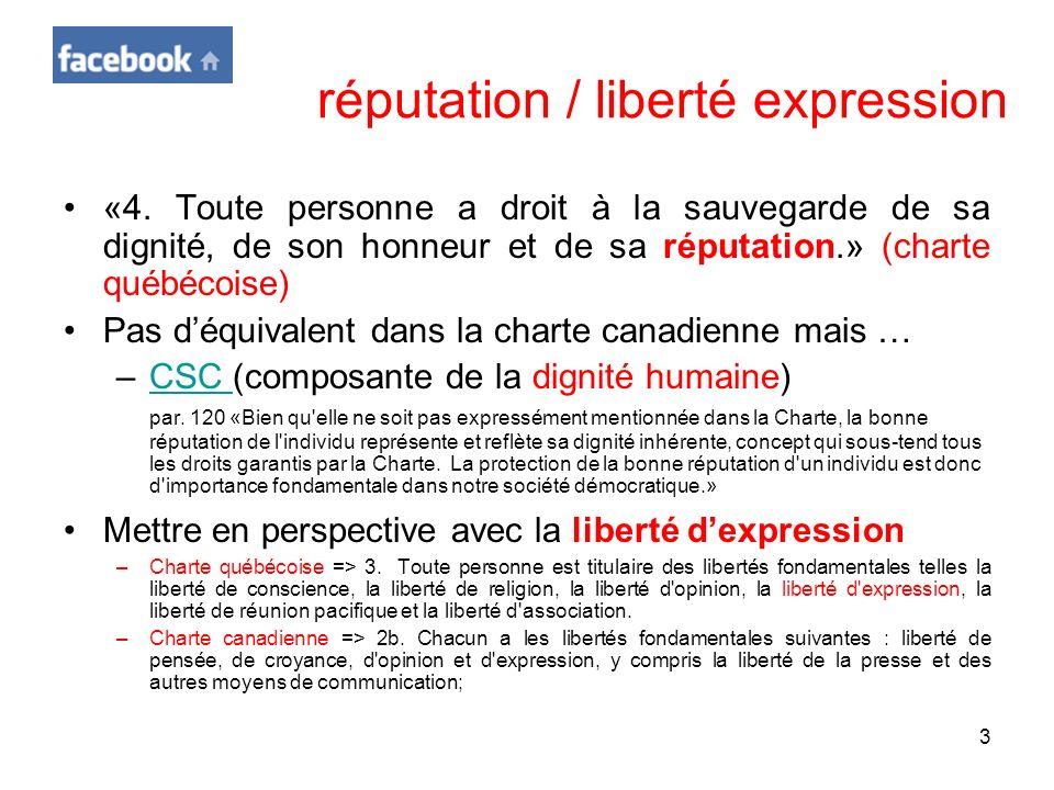 réputation / liberté expression