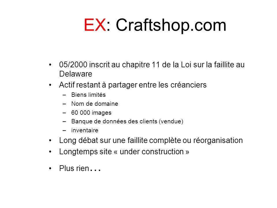 EX: Craftshop.com05/2000 inscrit au chapitre 11 de la Loi sur la faillite au Delaware. Actif restant à partager entre les créanciers.