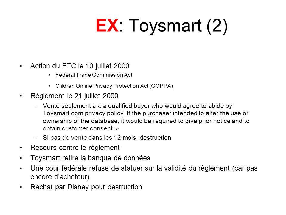 EX: Toysmart (2) Action du FTC le 10 juillet 2000