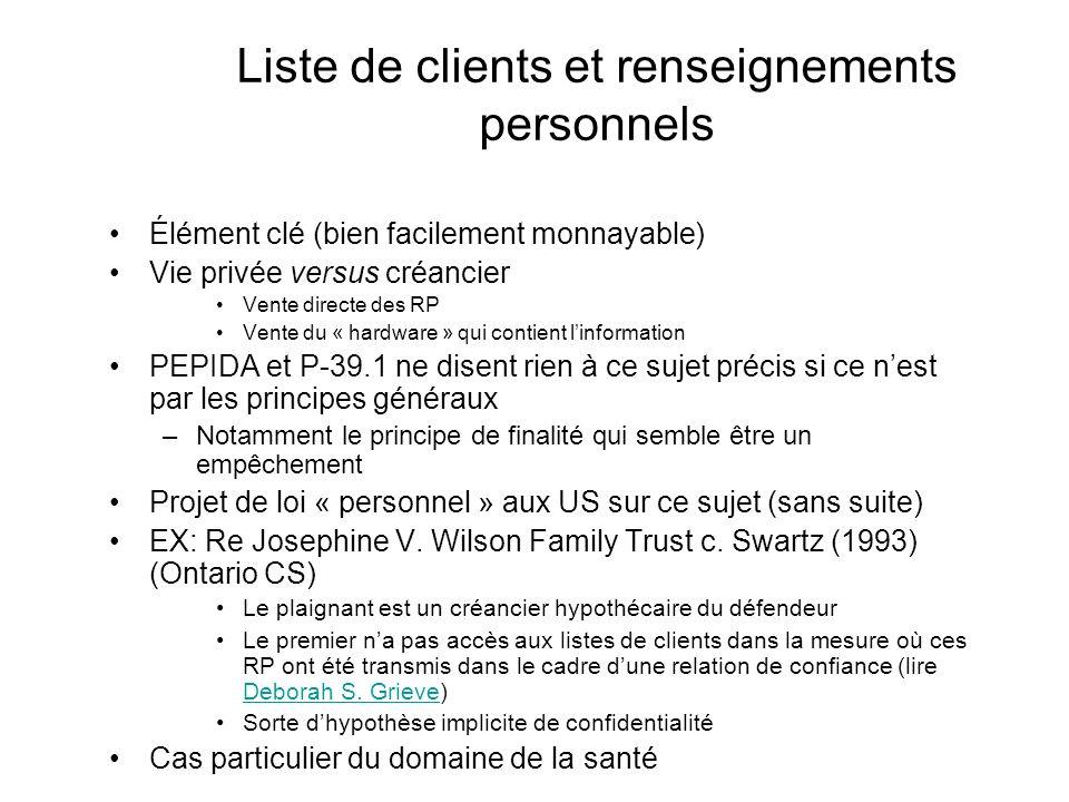 Liste de clients et renseignements personnels