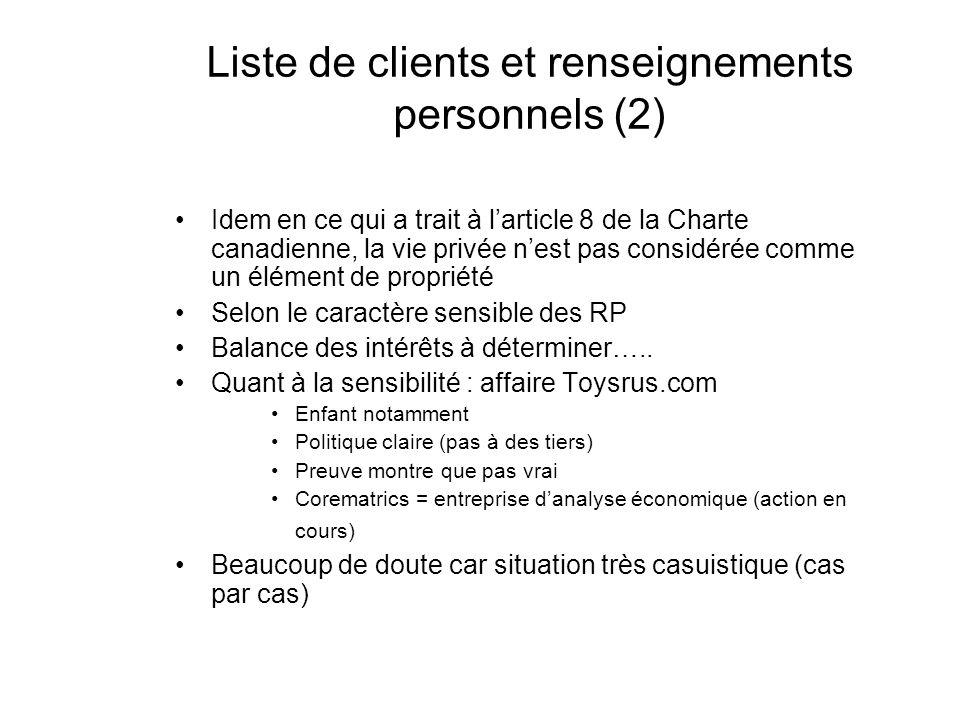 Liste de clients et renseignements personnels (2)