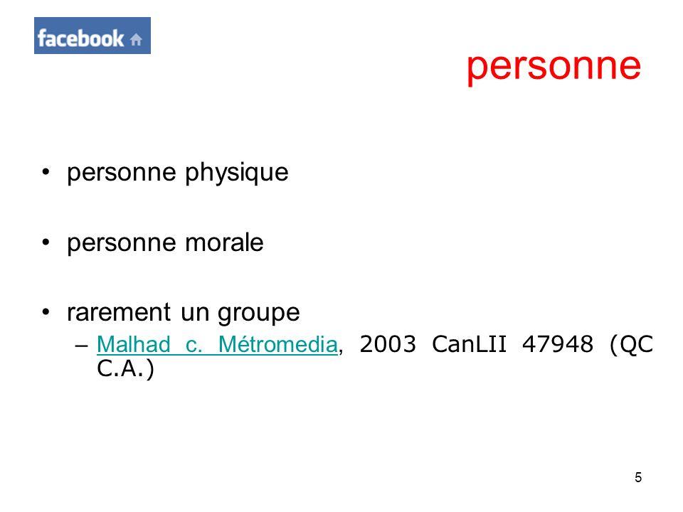 personne personne physique personne morale rarement un groupe