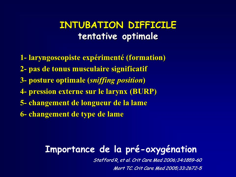 INTUBATION DIFFICILE tentative optimale