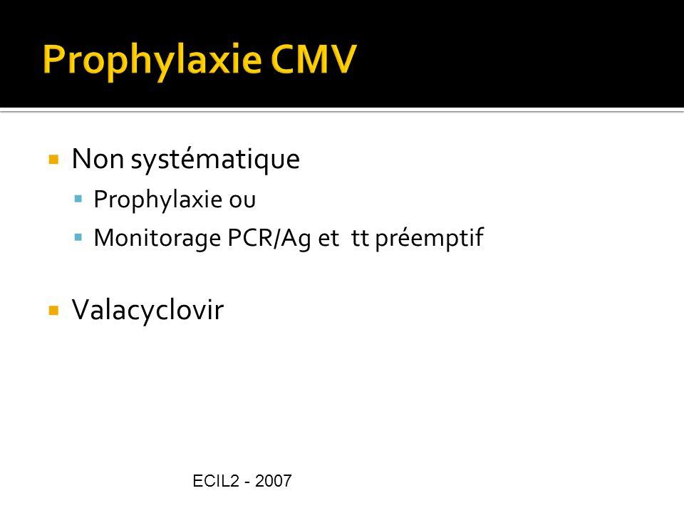 Prophylaxie CMV Non systématique Valacyclovir Prophylaxie ou