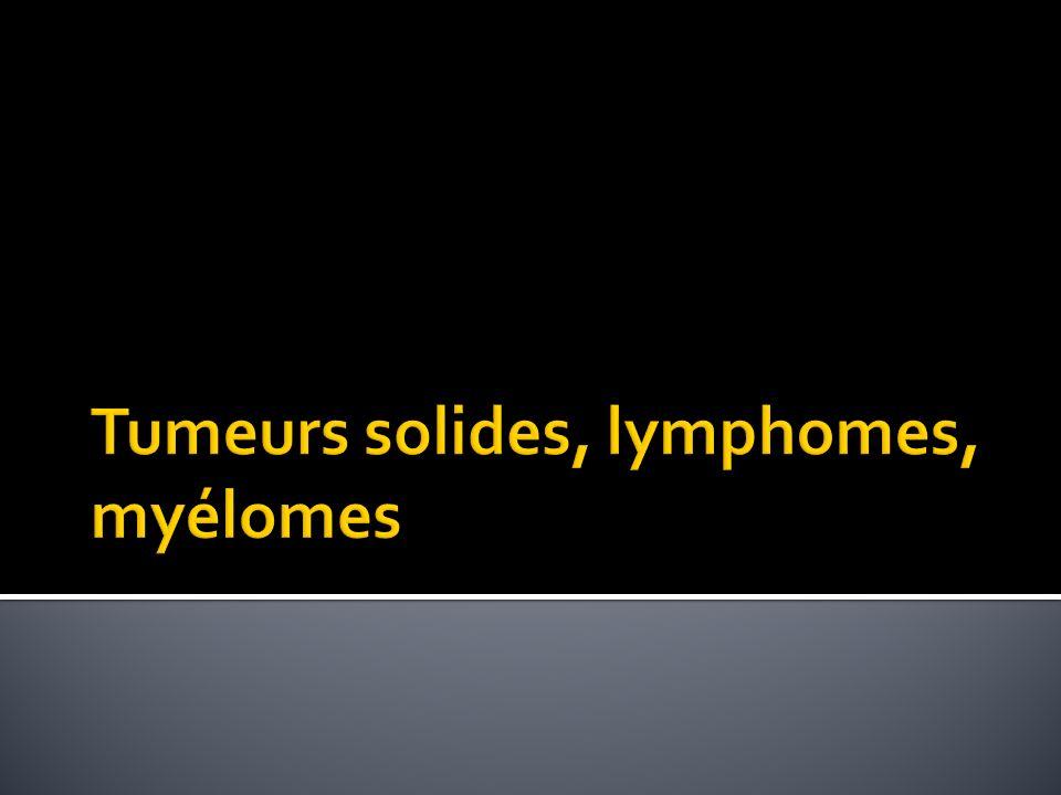 Tumeurs solides, lymphomes, myélomes