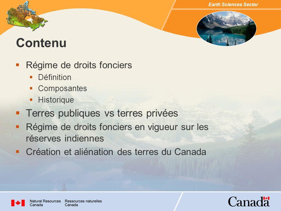 Contenu Terres publiques vs terres privées Régime de droits fonciers