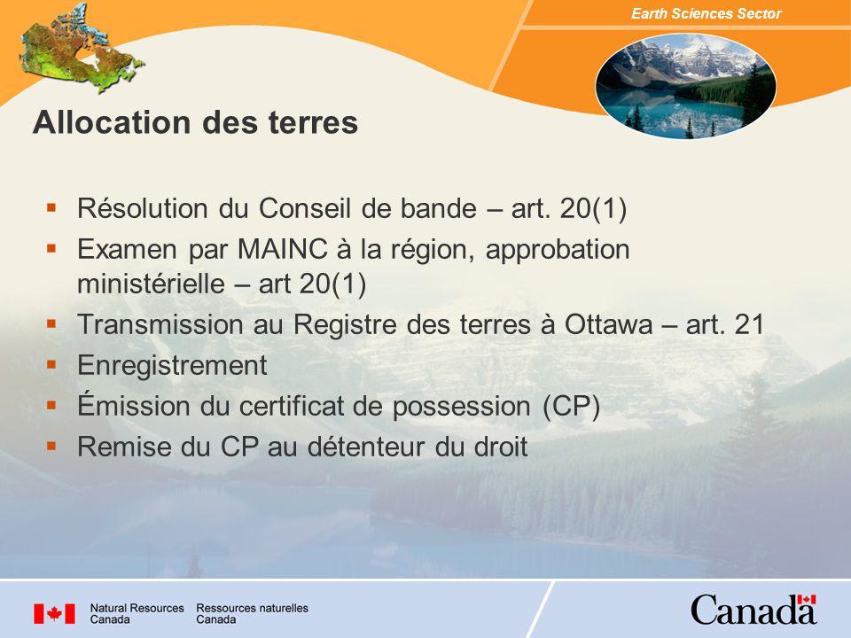 Allocation des terres Résolution du Conseil de bande – art. 20(1)