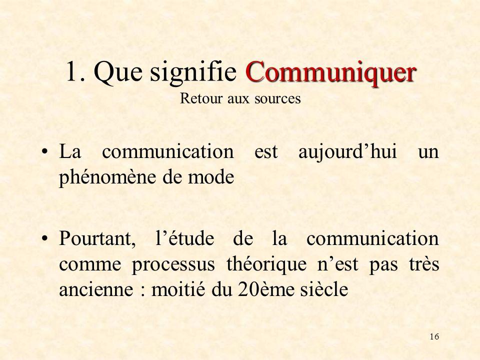 1. Que signifie Communiquer Retour aux sources