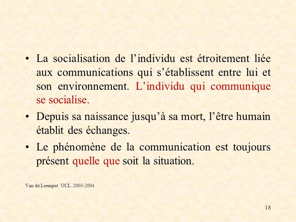La socialisation de l'individu est étroitement liée aux communications qui s'établissent entre lui et son environnement. L'individu qui communique se socialise.