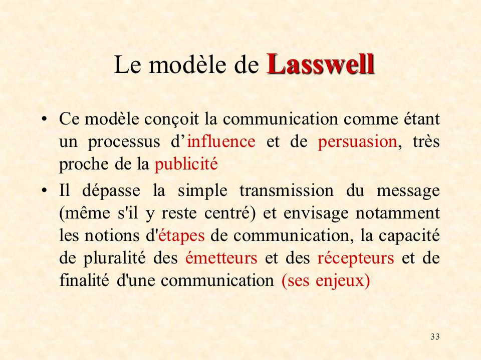 Le modèle de Lasswell Ce modèle conçoit la communication comme étant un processus d'influence et de persuasion, très proche de la publicité.