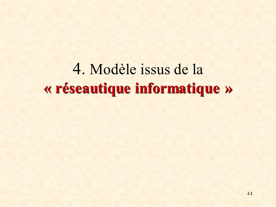 4. Modèle issus de la « réseautique informatique »