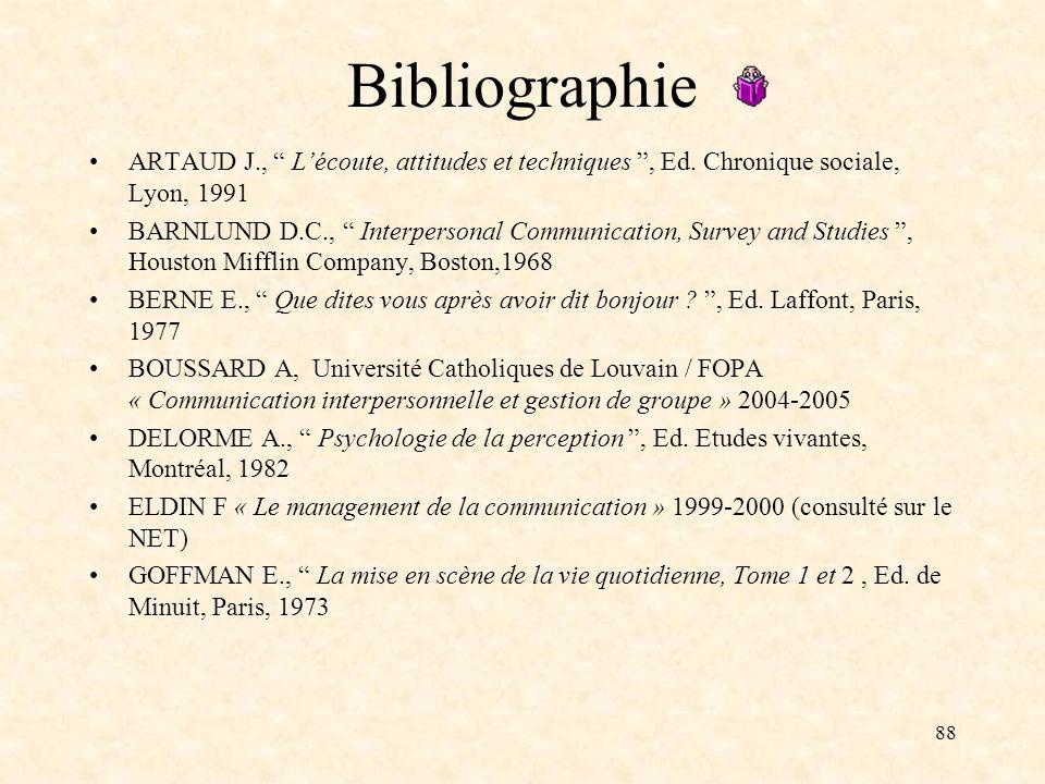 Bibliographie ARTAUD J., L'écoute, attitudes et techniques , Ed. Chronique sociale, Lyon, 1991.