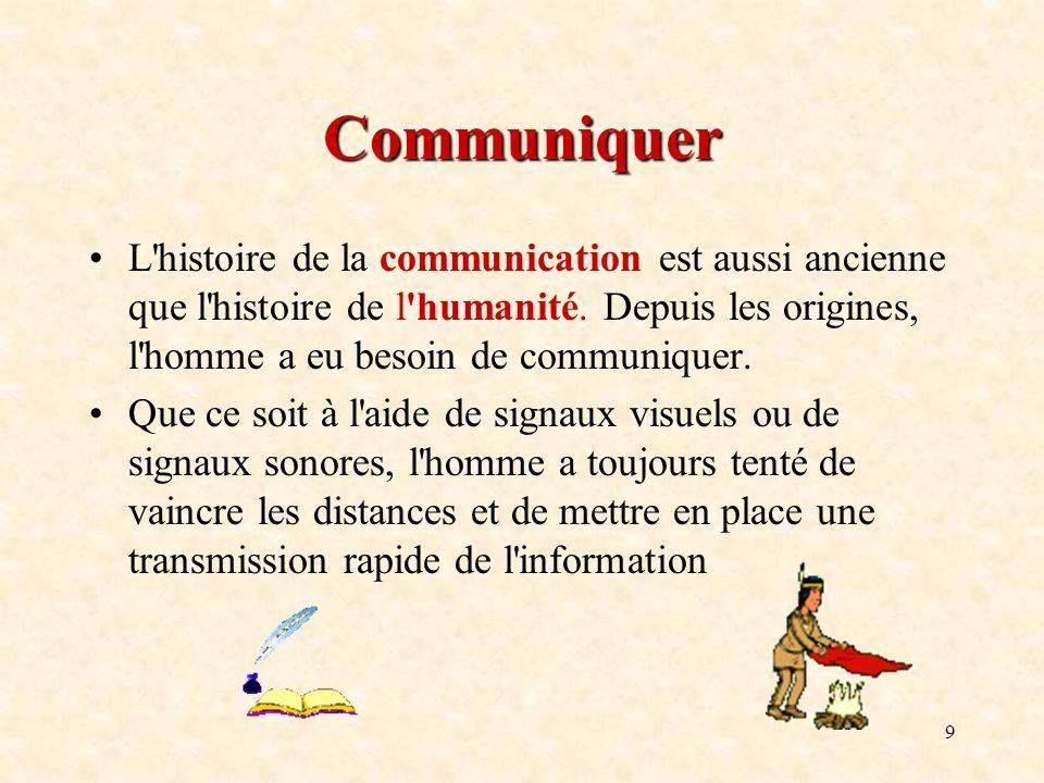 Communiquer L histoire de la communication est aussi ancienne que l histoire de l humanité. Depuis les origines, l homme a eu besoin de communiquer.