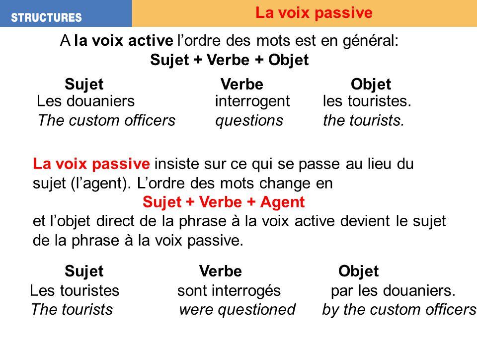 A la voix active l'ordre des mots est en général:
