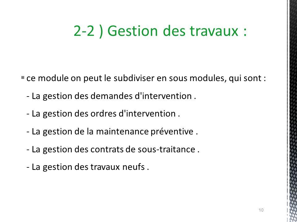 2-2 ) Gestion des travaux :