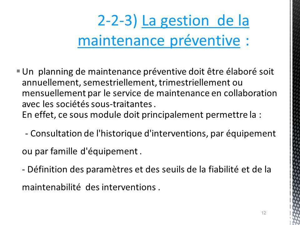 2-2-3) La gestion de la maintenance préventive :