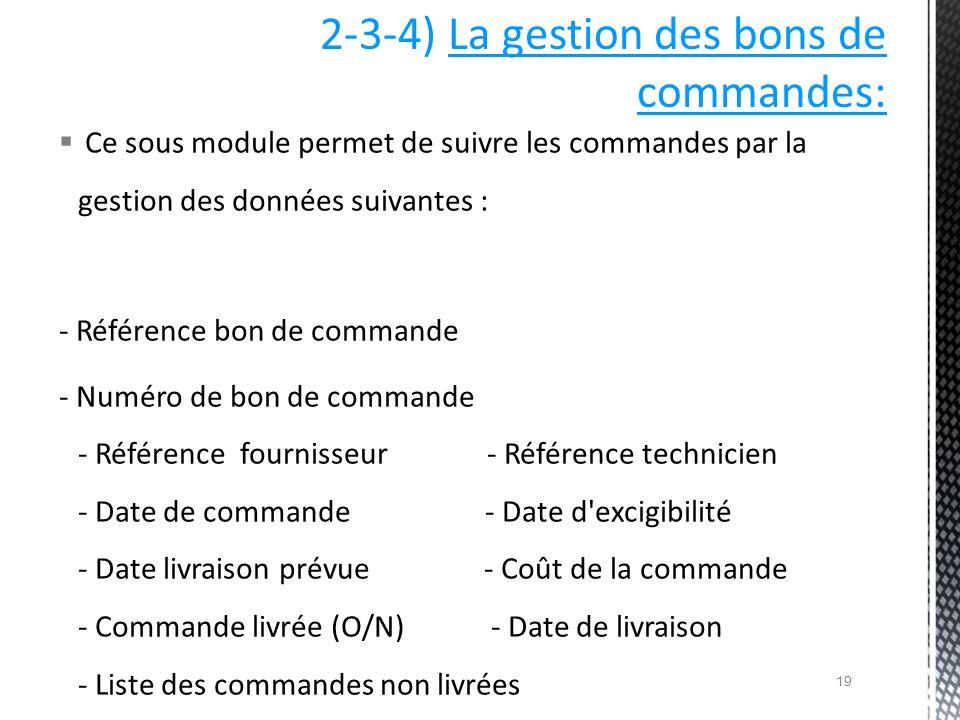 2-3-4) La gestion des bons de commandes: