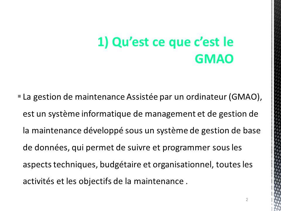 1) Qu'est ce que c'est le GMAO
