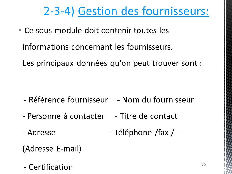 2-3-4) Gestion des fournisseurs: