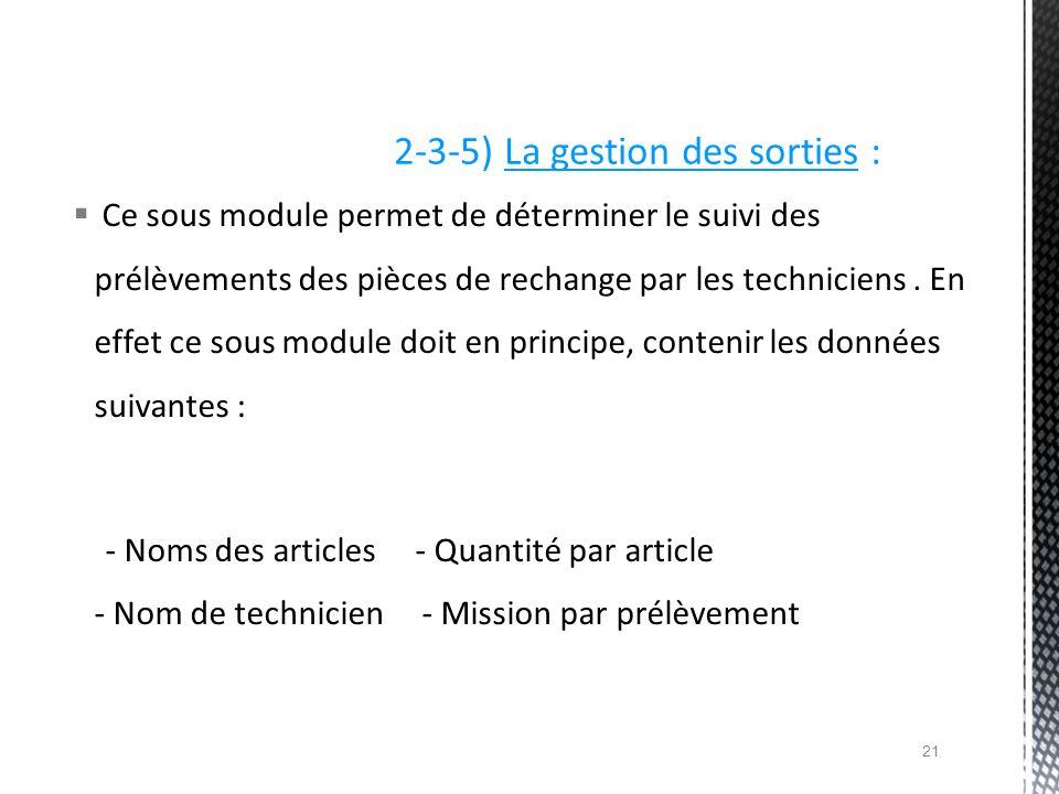 2-3-5) La gestion des sorties :