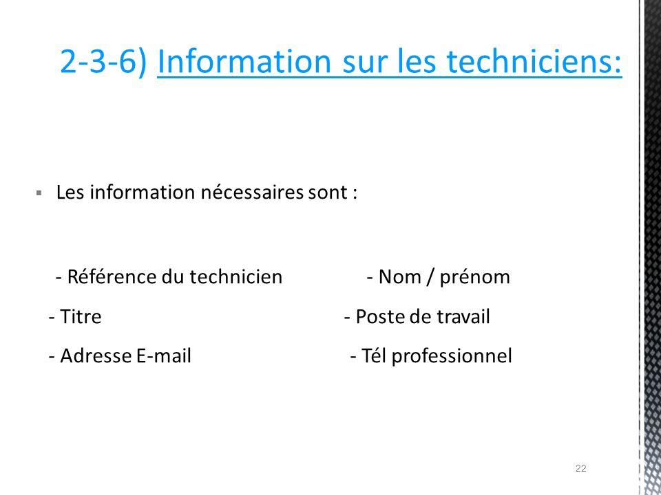 2-3-6) Information sur les techniciens:
