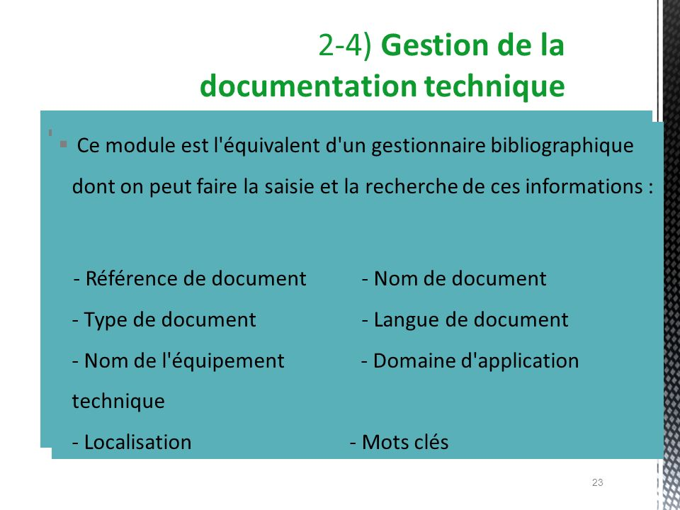 2-4) Gestion de la documentation technique