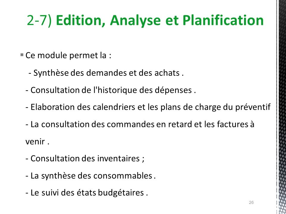 2-7) Edition, Analyse et Planification