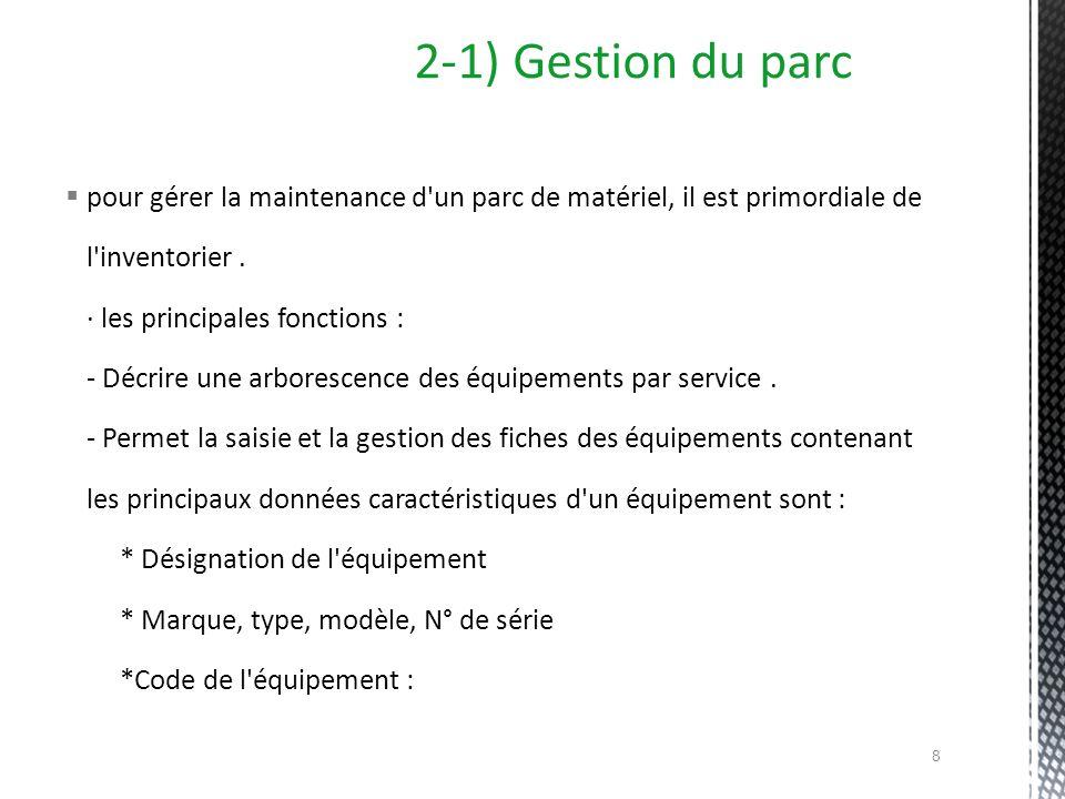 2-1) Gestion du parc