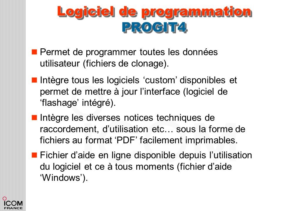 Logiciel de programmation PROGIT4