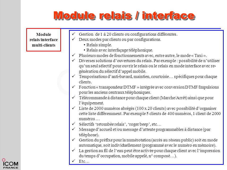 Module relais / interface