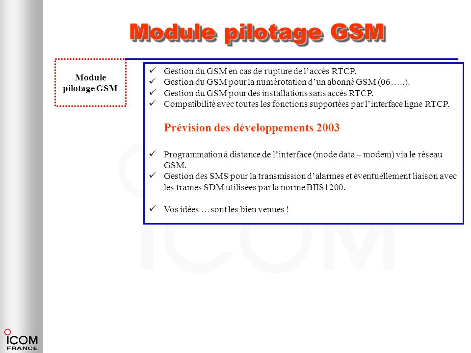 Module pilotage GSM Module