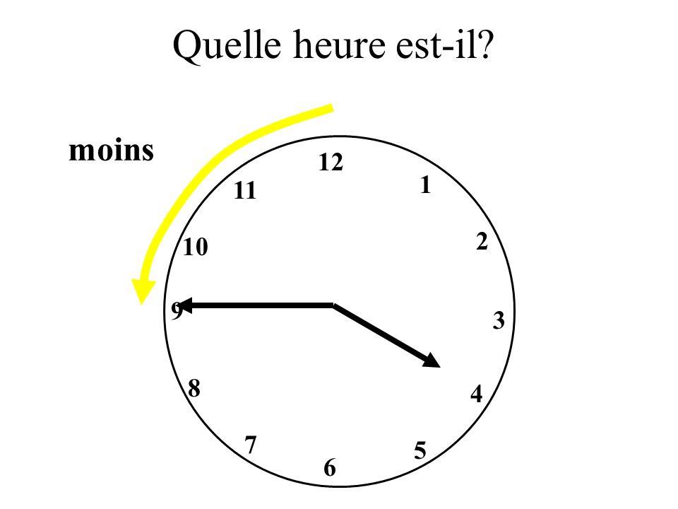 Quelle heure est-il moins 12 1 11 2 10 9 3 8 4 7 5 6