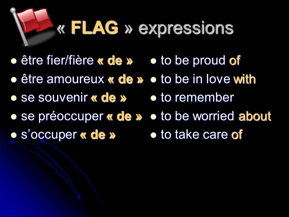 « FLAG » expressions être fier/fière « de » être amoureux « de »