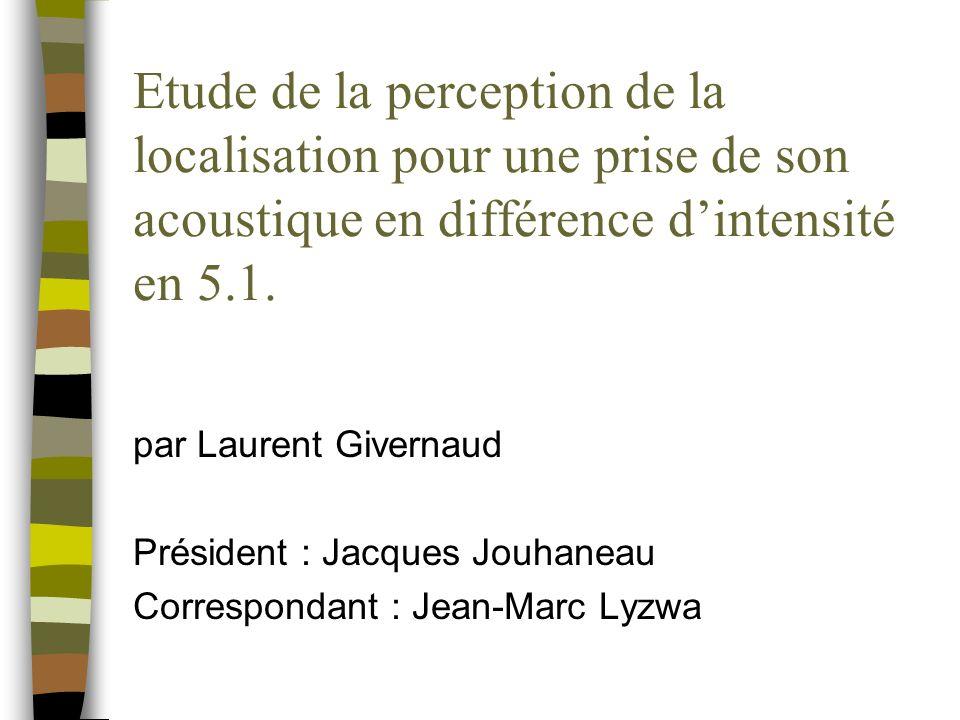 Etude de la perception de la localisation pour une prise de son acoustique en différence d'intensité en 5.1.