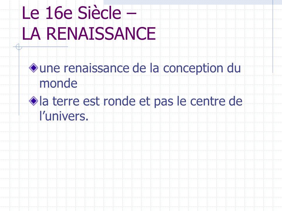 Le 16e Siècle – LA RENAISSANCE