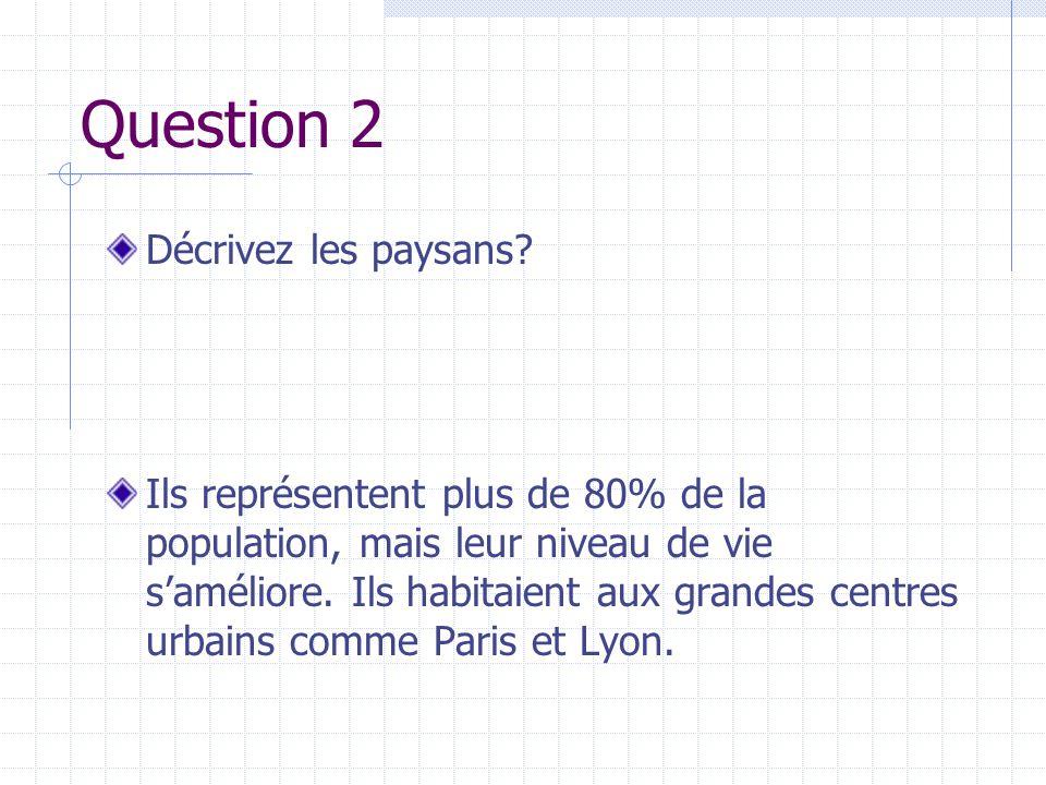 Question 2 Décrivez les paysans