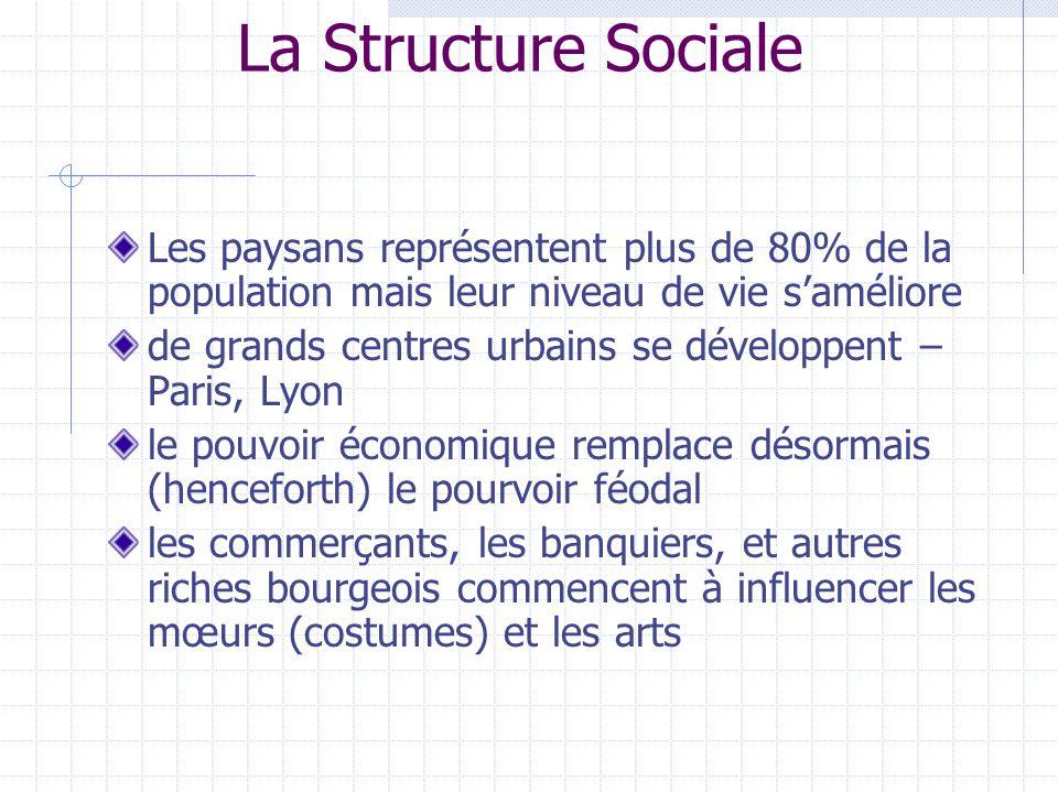 La Structure Sociale Les paysans représentent plus de 80% de la population mais leur niveau de vie s'améliore.