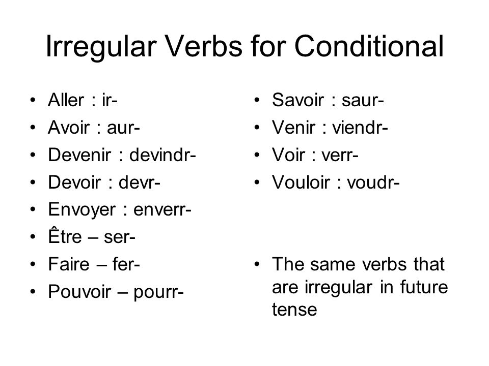 Irregular Verbs for Conditional