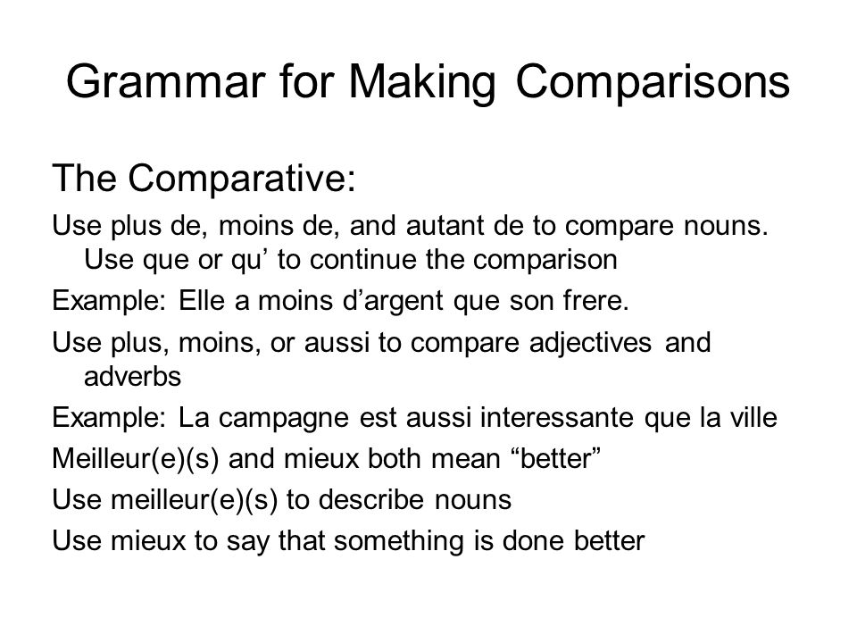 Grammar for Making Comparisons
