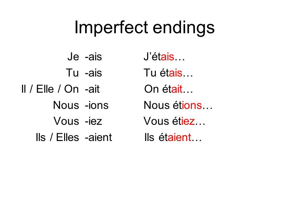 Imperfect endings Je Tu Il / Elle / On Nous Vous Ils / Elles