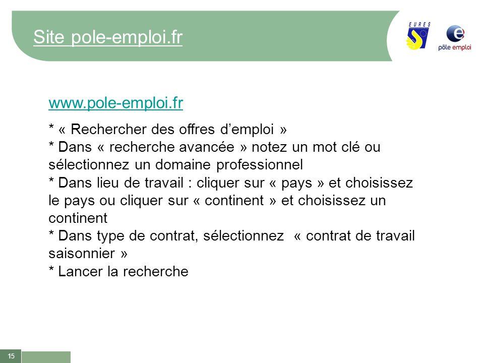 Site pole-emploi.fr www.pole-emploi.fr