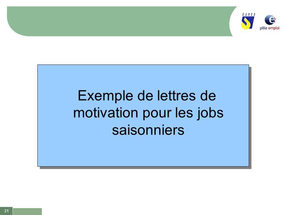 Exemple de lettres de motivation pour les jobs saisonniers