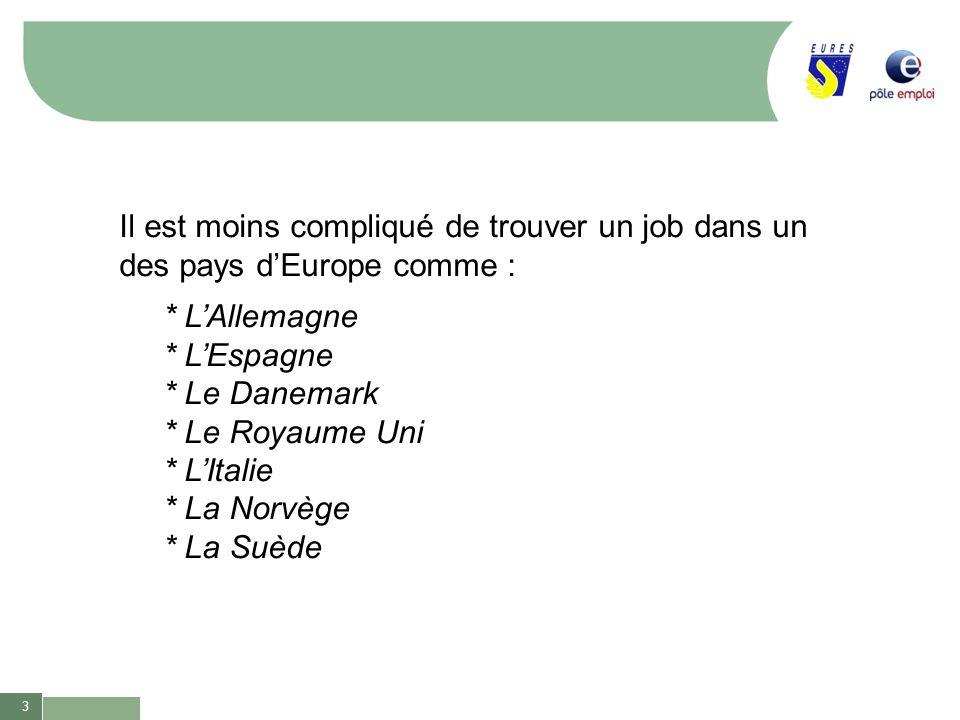 Il est moins compliqué de trouver un job dans un des pays d'Europe comme :
